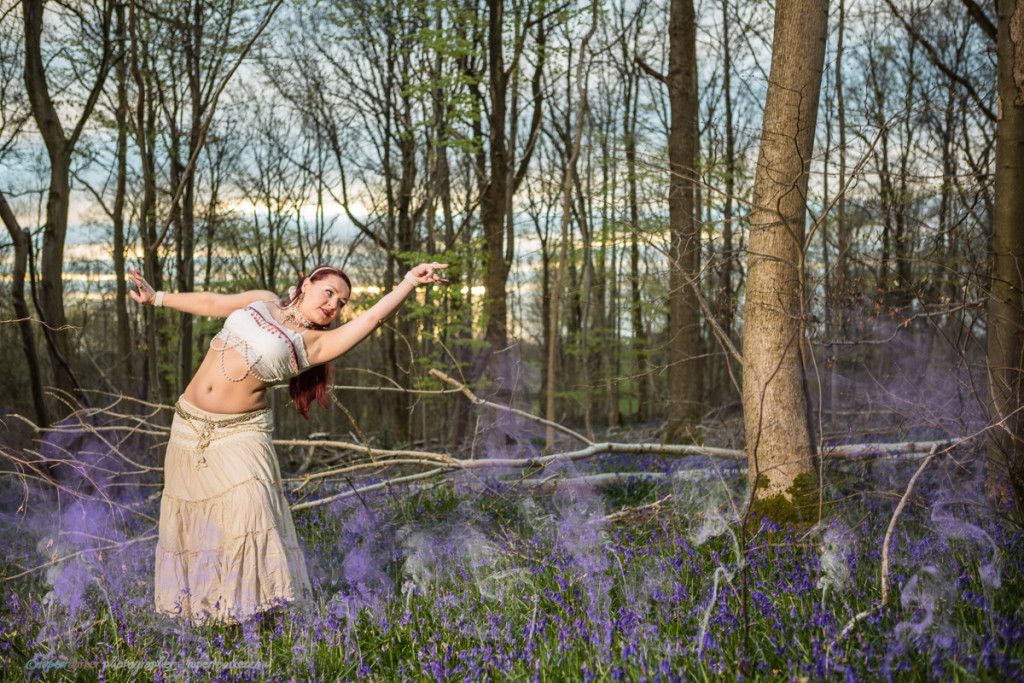 Bellydance portrait bluebells wood purple smoke russian princess
