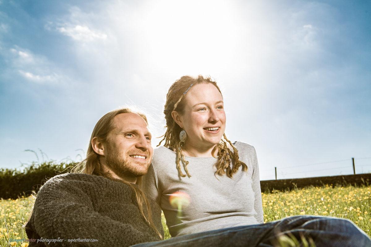 El Tig couple field buttercups wiltshire malmesbury