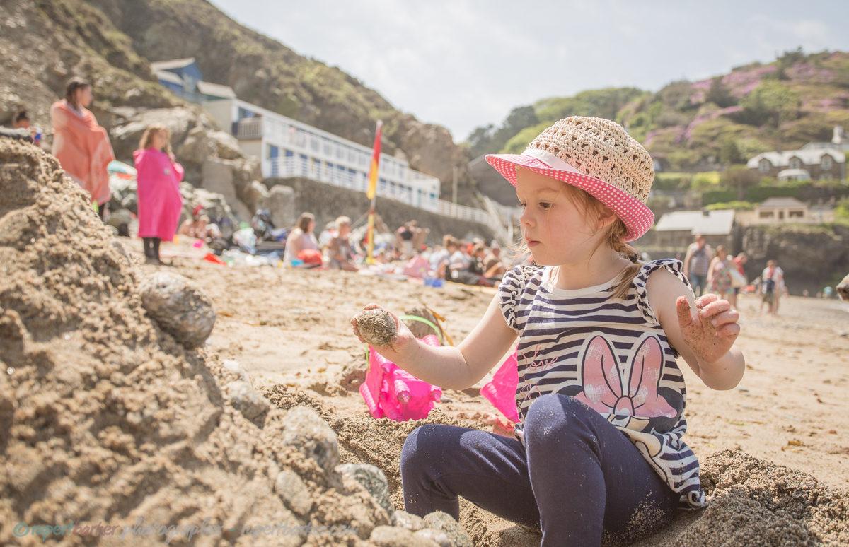 trevaunance cove cornwall beach sandcastle dog daughter