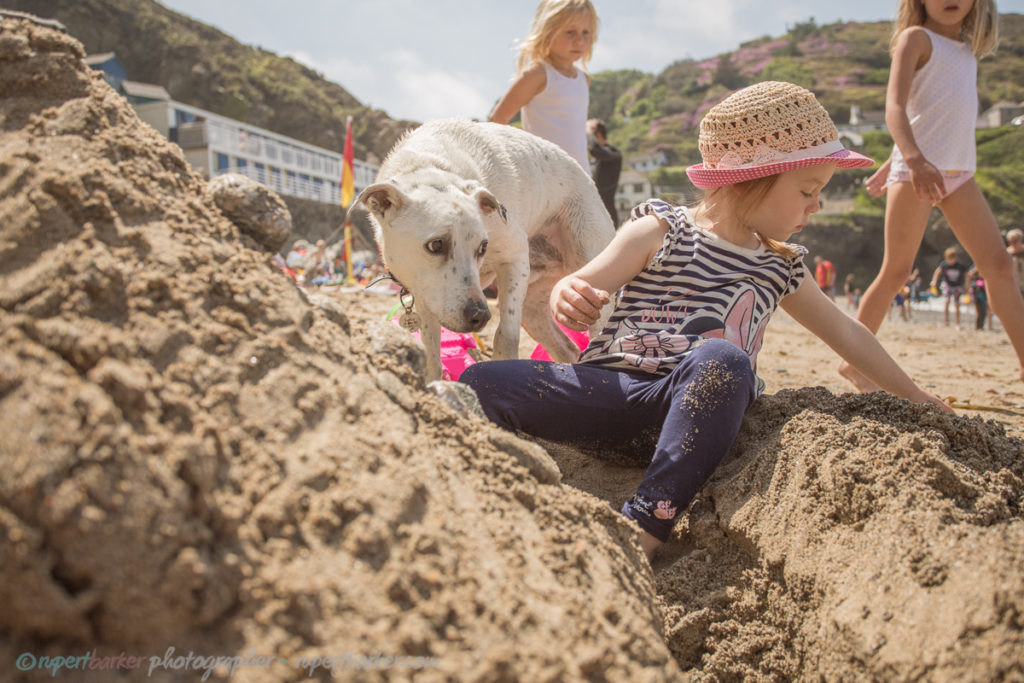 trevaunance cove cornwall beach sandcastle dog daughter