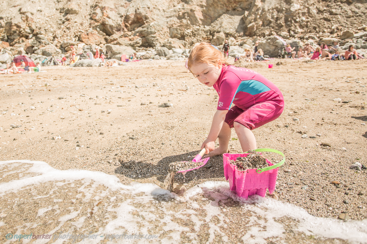 trevaunance cove cornwall beach sandcastle daughter