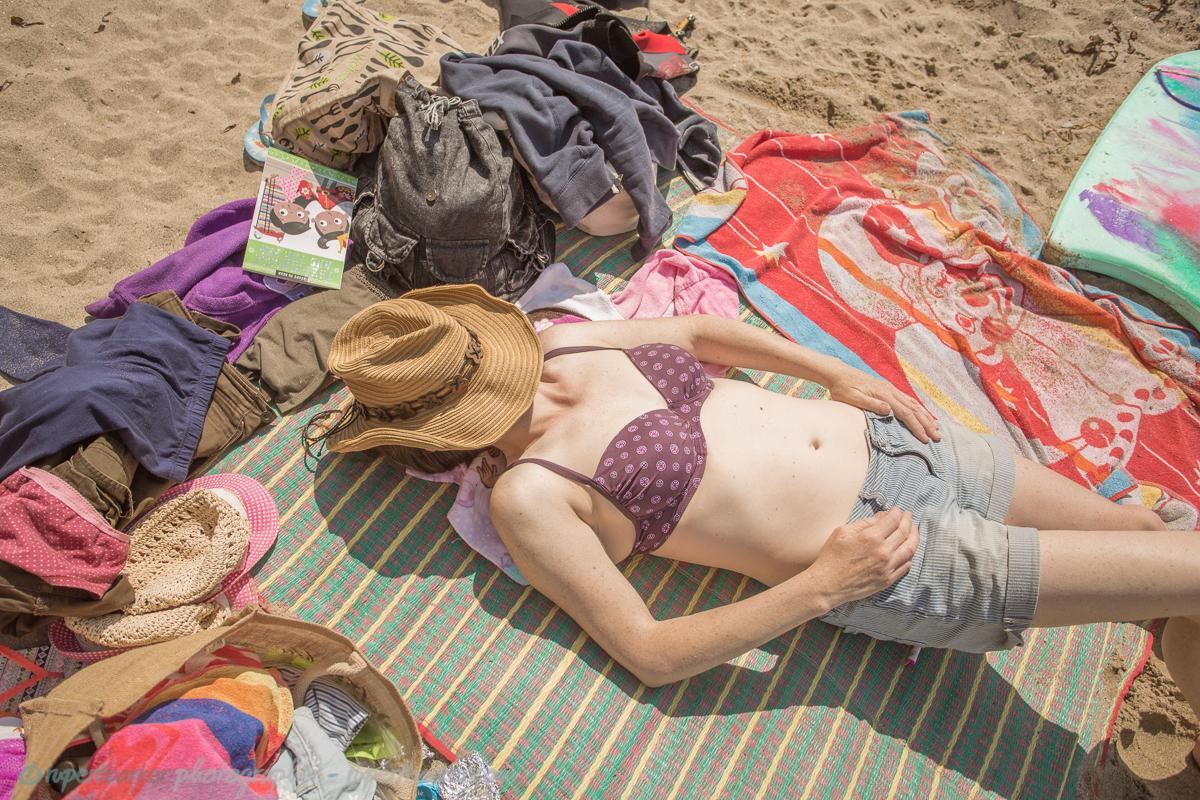 trevaunance cove cornwall beach sunbathing wife
