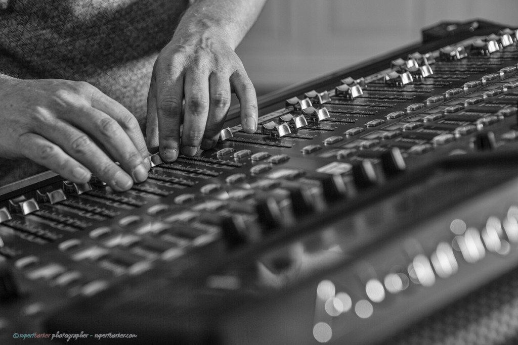 Neil Muttock Malmesbury Acoustic Sessions Portrait sound engineer mixing desk