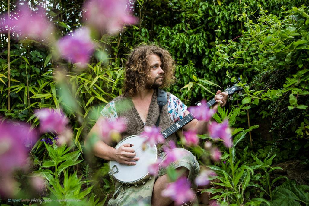 Philip Artist Banjo Flowers Garden Malmesbury England Bluegrass