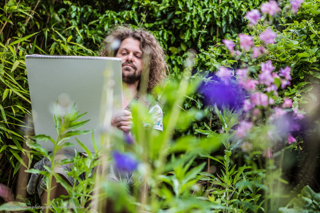 Philip Artist Sketching Flowers Garden Malmesbury England
