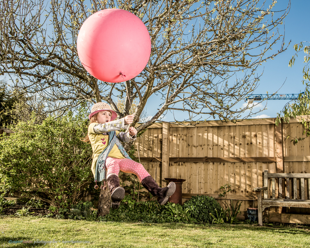 Flying balloon girl pink levitation