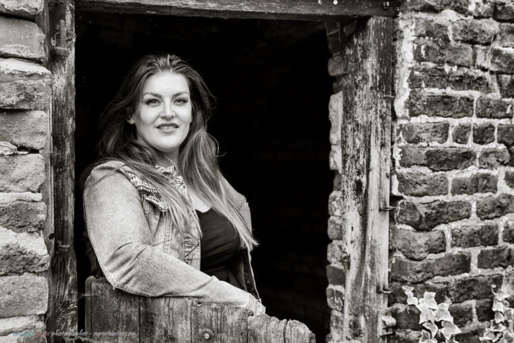 Jodie Prenger weekly portrait farm Blackpool monochrome