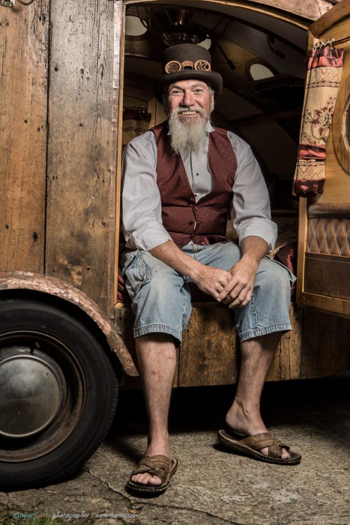Dave steampunk teardrop camper beard malmesbury character portrait