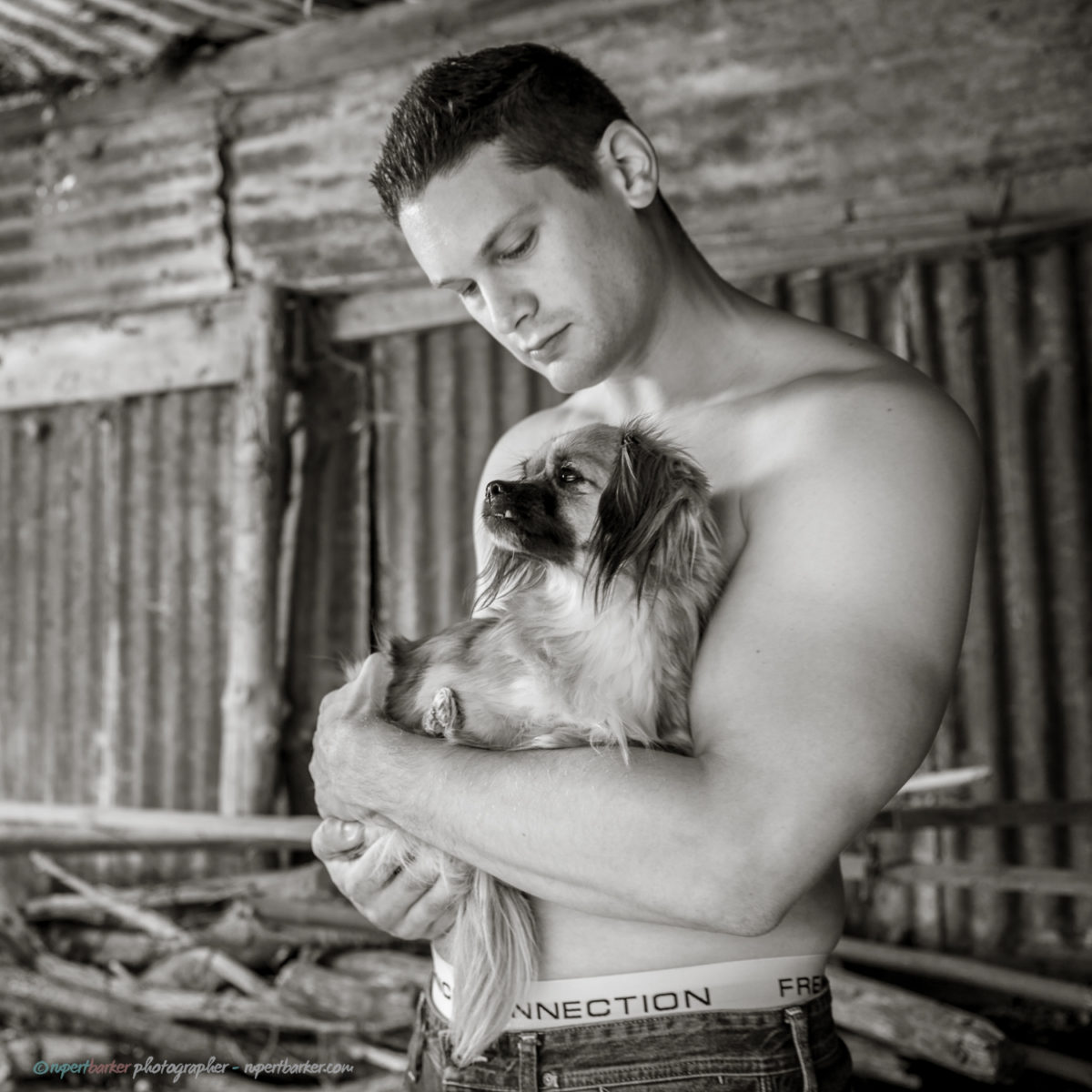 Topless Male Portrait with rescue puppies Black and White Calendar shoot