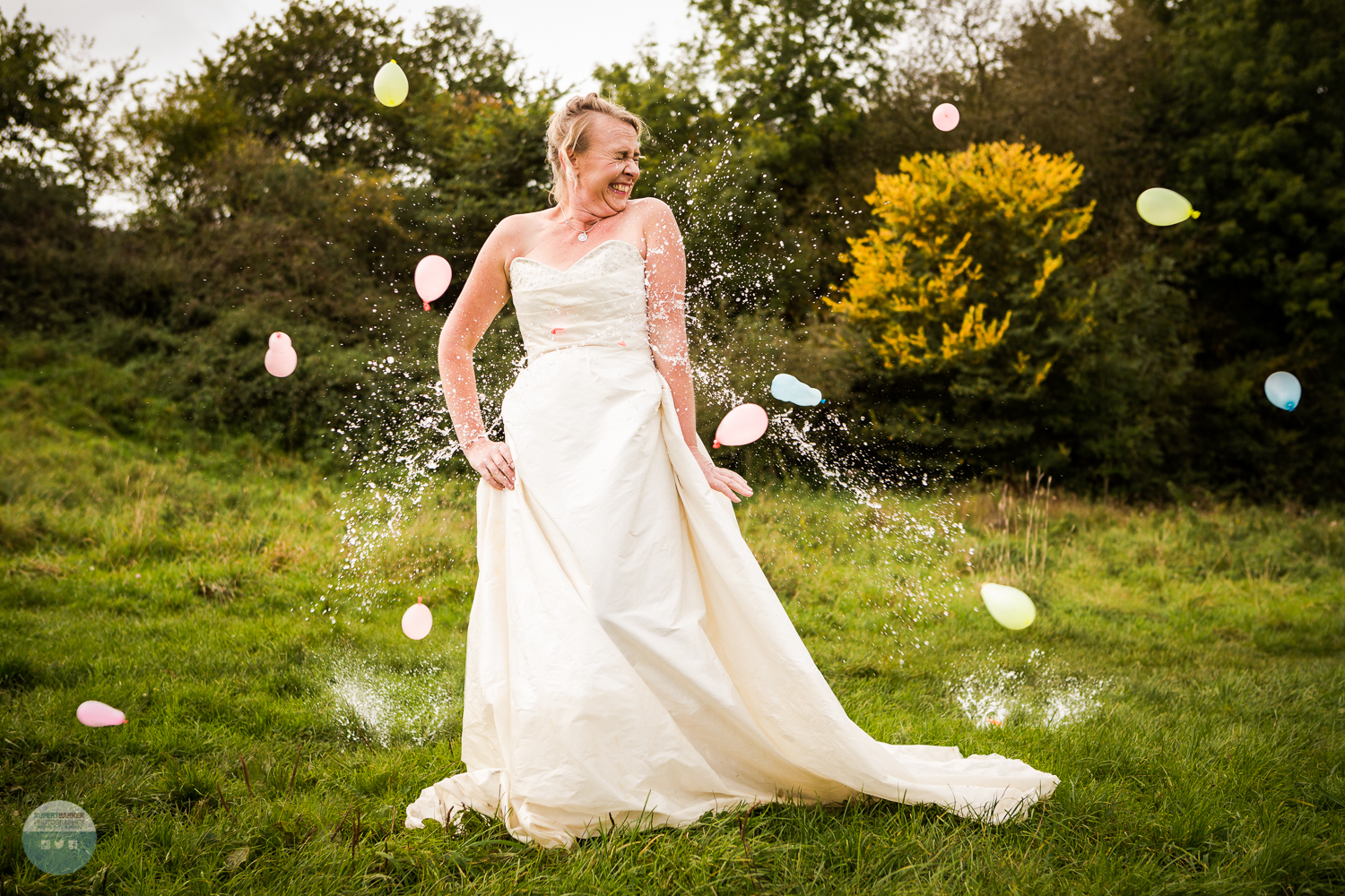 trash the dress river avon malmesbury wedding dress water bombs laughter