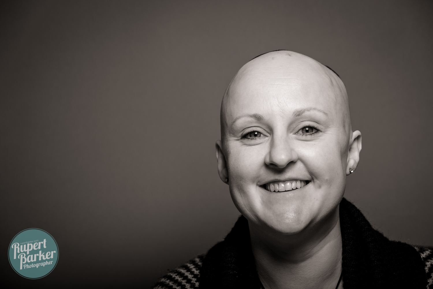 Sarah Lewis Alopecia wig bravery shaved head portrait black and white