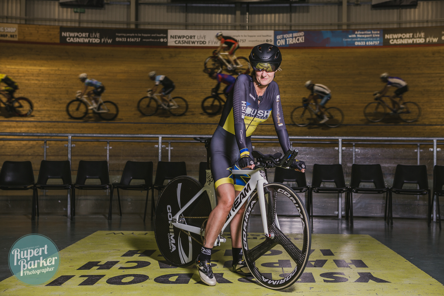 jo Buckland cyclist velodrome newport track cycling portrait colour monochrome
