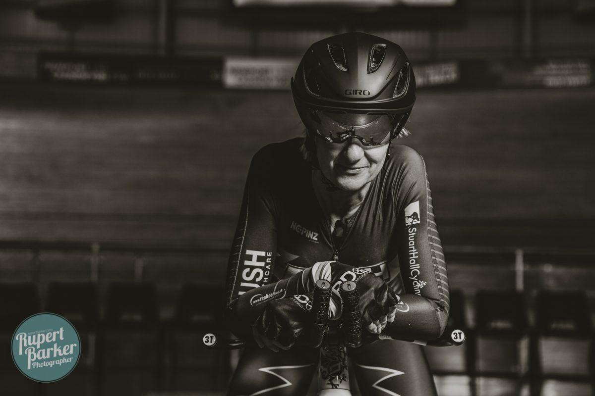 jo Buckland cyclist velodrome newport track cycling portrait colour monochrome